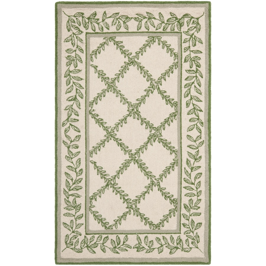 Safavieh Chelsea Lattice Ivory And Light Green Indoor Handcrafted Lodge Throw Rug (Common: 3 x 5; Actual: 2.75-ft W x 4.75-ft L)