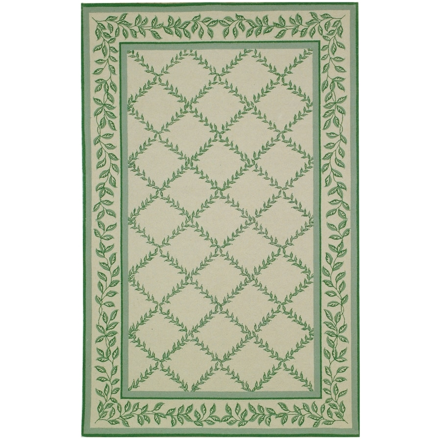 Safavieh Chelsea Lattice Ivory and Light Green Rectangular Indoor Handcrafted Lodge Throw Rug (Common: 3 x 5; Actual: 3.75-ft W x 5.75-ft L)