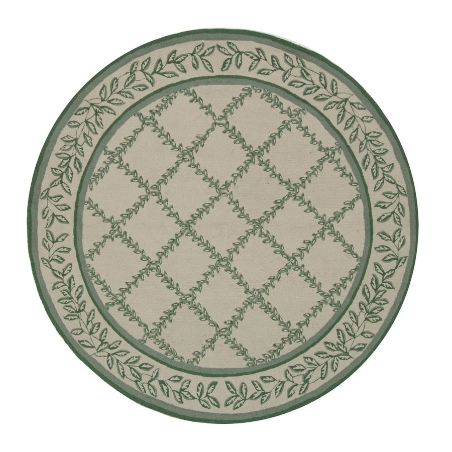 Safavieh Chelsea Lattice Ivory/Light Green Round Indoor Handcrafted Lodge Area Rug (Common: 8 x 8; Actual: 8-ft W x 8-ft L x 8-ft dia)