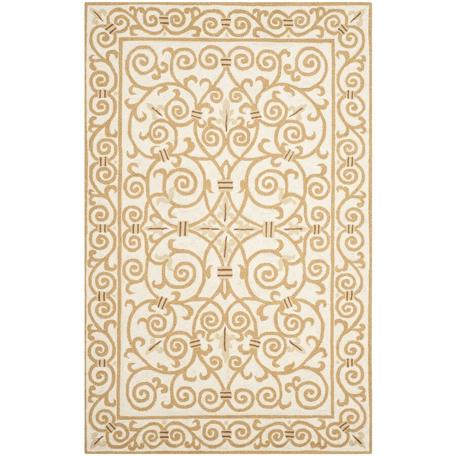 Safavieh Chelsea Iron Gate Ivory/Gold Indoor Handcrafted Lodge Area Rug (Common: 5 x 8; Actual: 5.25-ft W x 8.25-ft L)