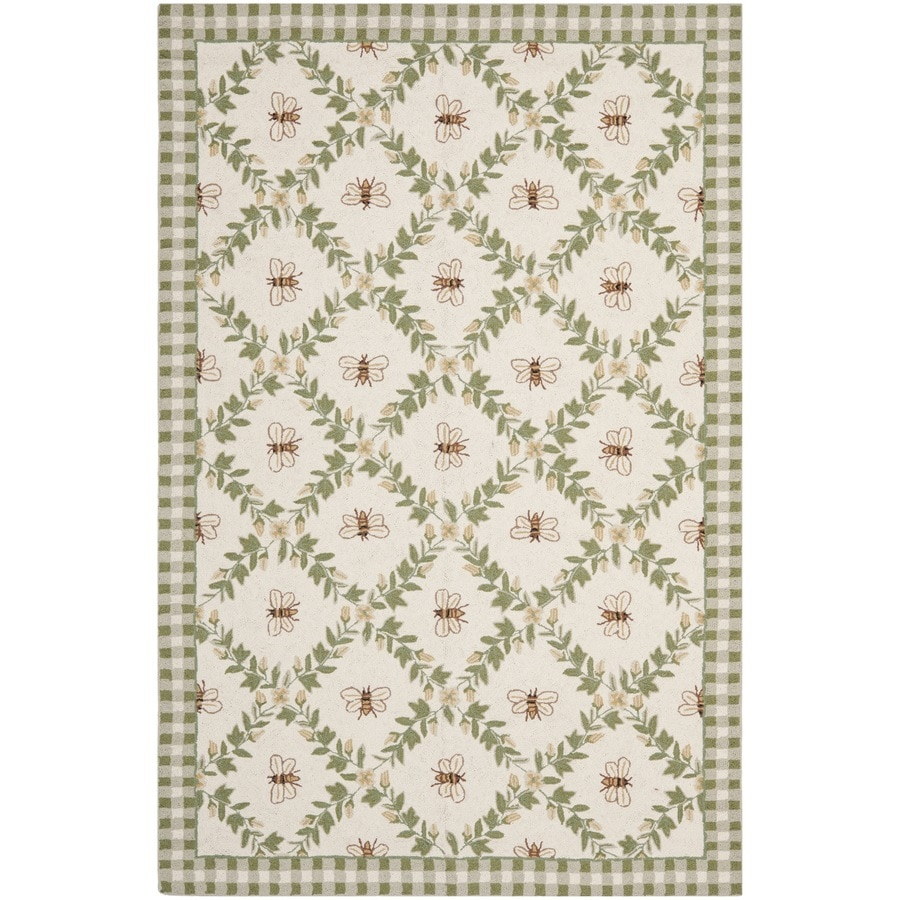 Safavieh Chelsea Stratford Ivory/Green Rectangular Indoor Handcrafted Lodge Area Rug (Common: 6 X 9; Actual: 6-ft W x 9-ft L)