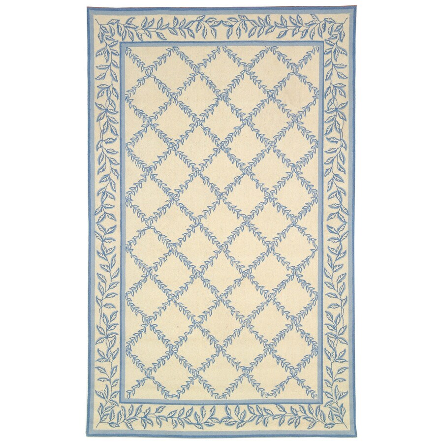 Safavieh Chelsea Lattice Ivory And Light Blue Indoor Handcrafted Lodge Area Rug (Common: 6 x 9; Actual: 6-ft W x 9-ft L)