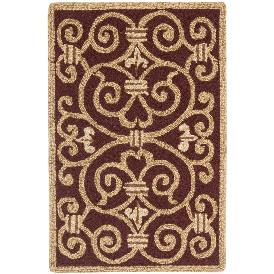 Safavieh Chelsea Iron Gate Burgundy Rectangular Indoor Handcrafted Lodge Throw Rug (Common: 2 X 4; Actual: 2.5-ft W x 4-ft L)