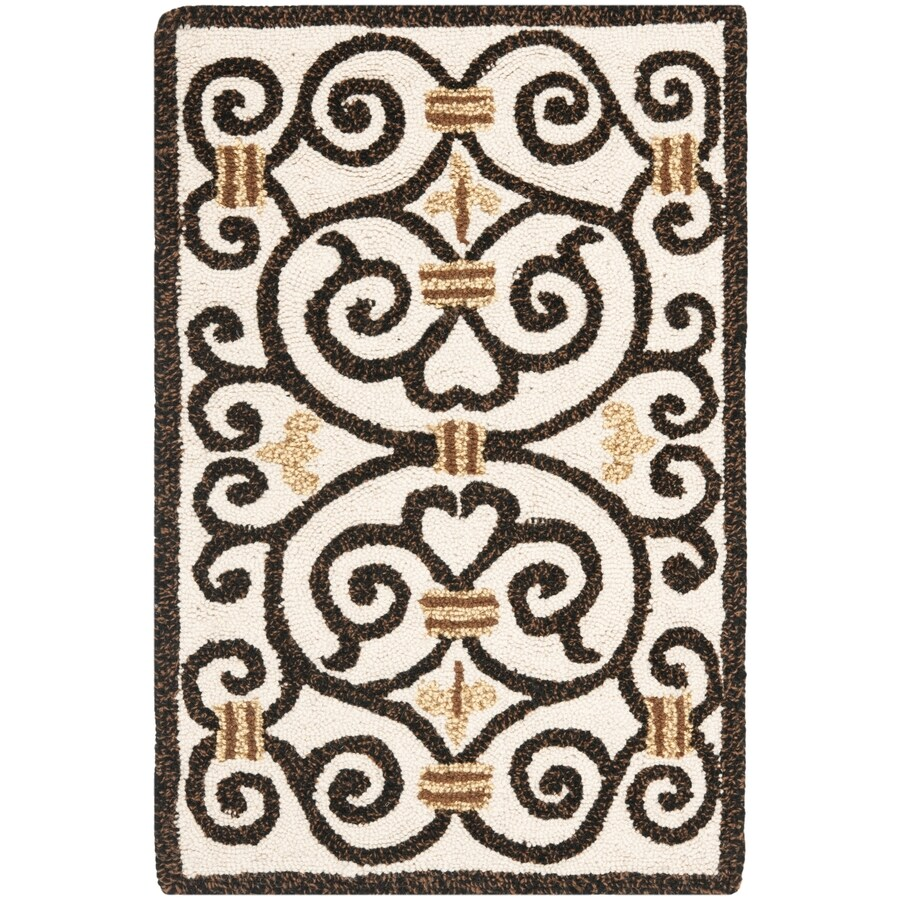 Safavieh Chelsea Iron Gate Ivory And Dark Brown Indoor Handcrafted Lodge Throw Rug (Common: 2 x 4; Actual: 2.5-ft W x 4-ft L)