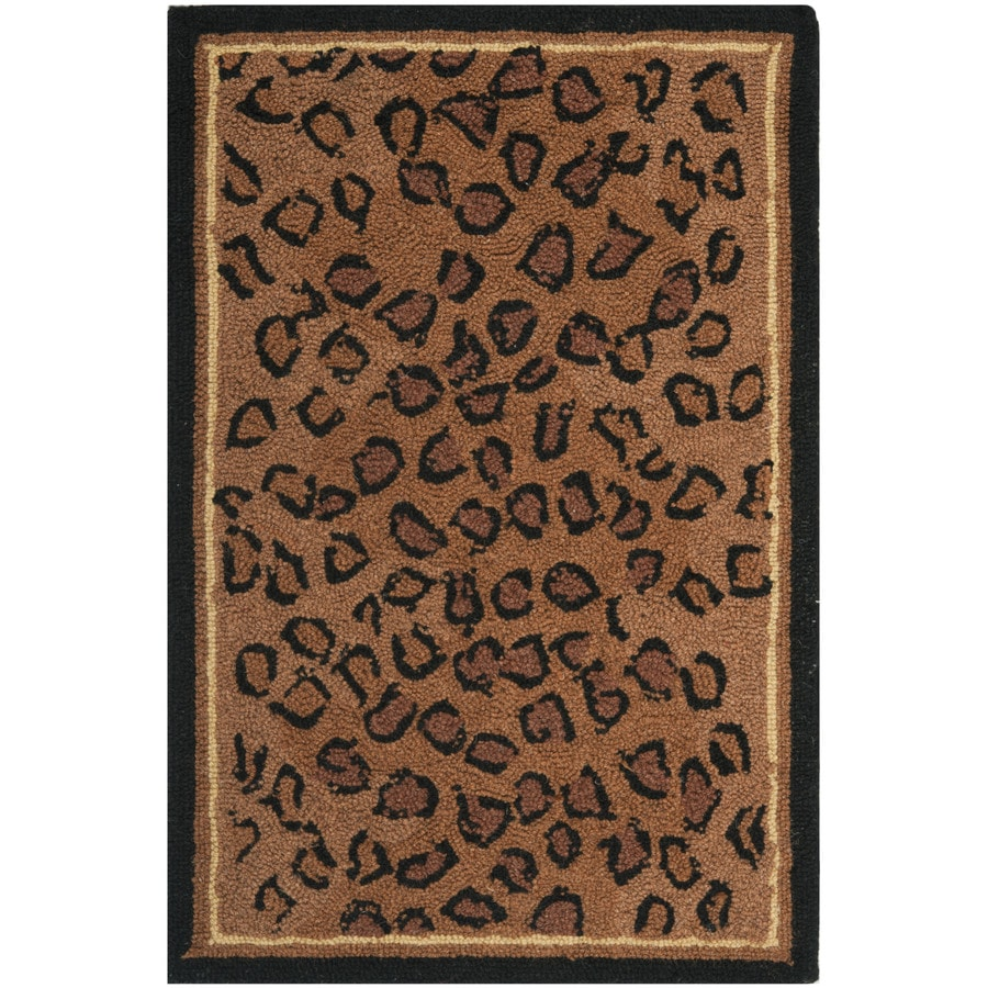 Safavieh Chelsea Leopard Black/Brown Rectangular Indoor Handcrafted Lodge Throw Rug (Common: 2 x 4; Actual: 2.5-ft W x 4-ft L)