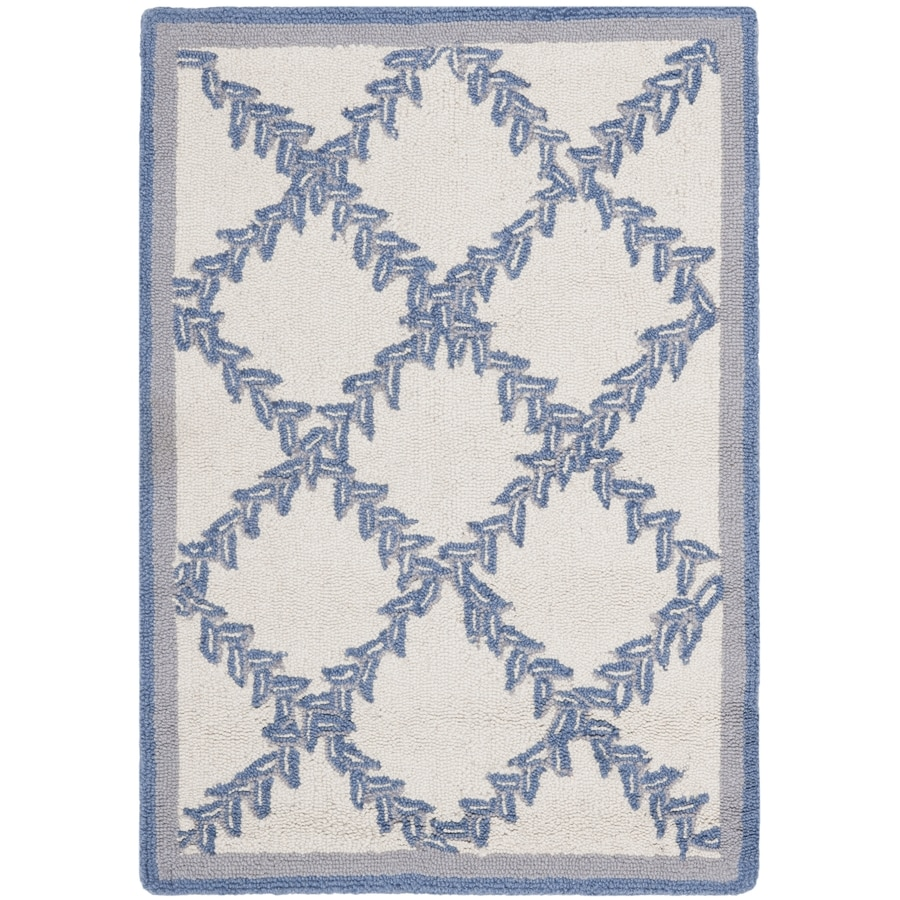Safavieh Chelsea Lattice Ivory And Light Blue Indoor Handcrafted Lodge Throw Rug (Common: 2 x 4; Actual: 2.5-ft W x 4-ft L)