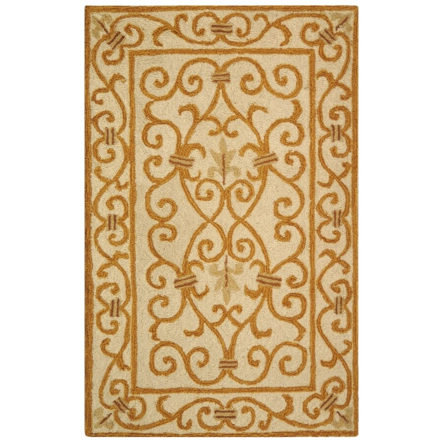 Safavieh Chelsea Iron Gate Ivory/Gold Rectangular Indoor Handcrafted Lodge Throw Rug (Common: 3 X 5; Actual: 3.75-ft W x 5.75-ft L)