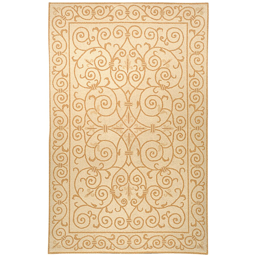 Safavieh Chelsea Iron Gate Ivory/Gold Rectangular Indoor Handcrafted Lodge Area Rug (Common: 6 X 9; Actual: 6-ft W x 9-ft L)