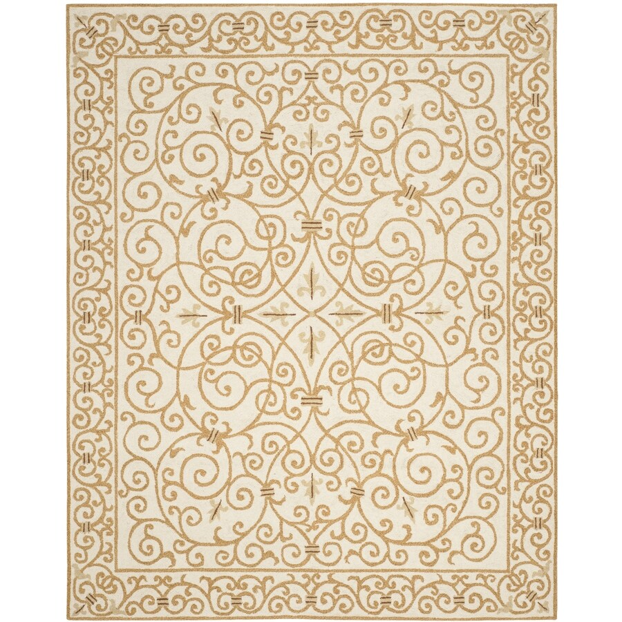 Safavieh Chelsea Iron Gate Ivory/Gold Rectangular Indoor Handcrafted Lodge Area Rug (Common: 7 X 9; Actual: 7.75-ft W x 9.75-ft L)