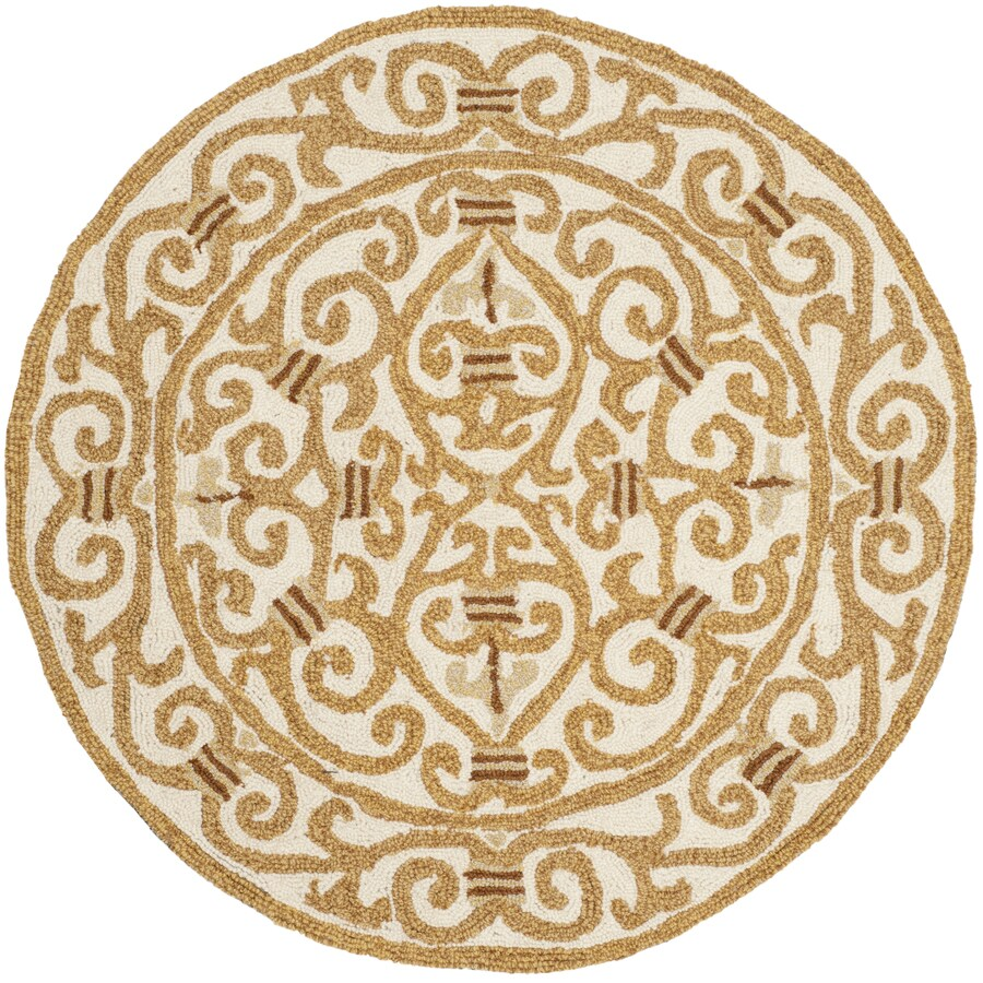 Safavieh Chelsea Iron Gate Ivory/Gold Round Indoor Handcrafted Lodge Throw Rug (Common: 3 x 3; Actual: 3-ft W x 3-ft L x 3-ft dia)
