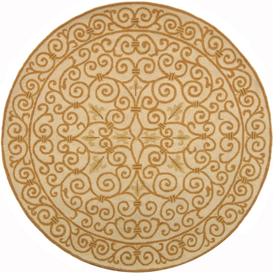 Safavieh Chelsea Iron Gate Ivory/Gold Round Indoor Handcrafted Lodge Area Rug (Common: 5 x 5; Actual: 5.5-ft W x 5.5-ft L x 5.5-ft dia)