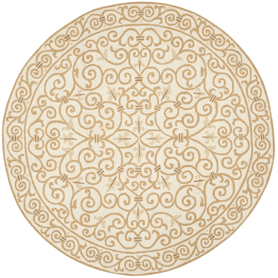 Safavieh Chelsea Iron Gate Ivory/Gold Round Indoor Handcrafted Lodge Area Rug (Common: 8 X 8; Actual: 8-ft W x 8-ft L x 8-ft dia)