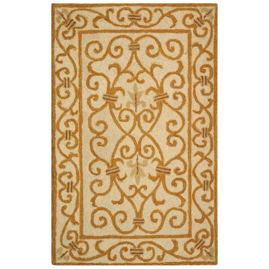 Safavieh Chelsea Iron Gate Ivory/Gold Rectangular Indoor Handcrafted Lodge Throw Rug (Common: 2 X 4; Actual: 2.5-ft W x 4-ft L)