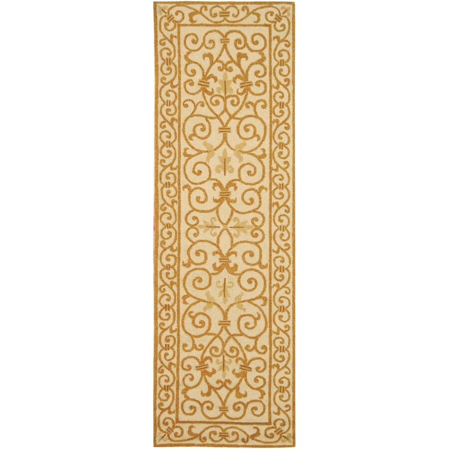 Safavieh Chelsea Ivory and Gold Rectangular Indoor Handcrafted Lodge Runner (Common: 2 x 8; Actual: 2.5-ft W x 8-ft L)