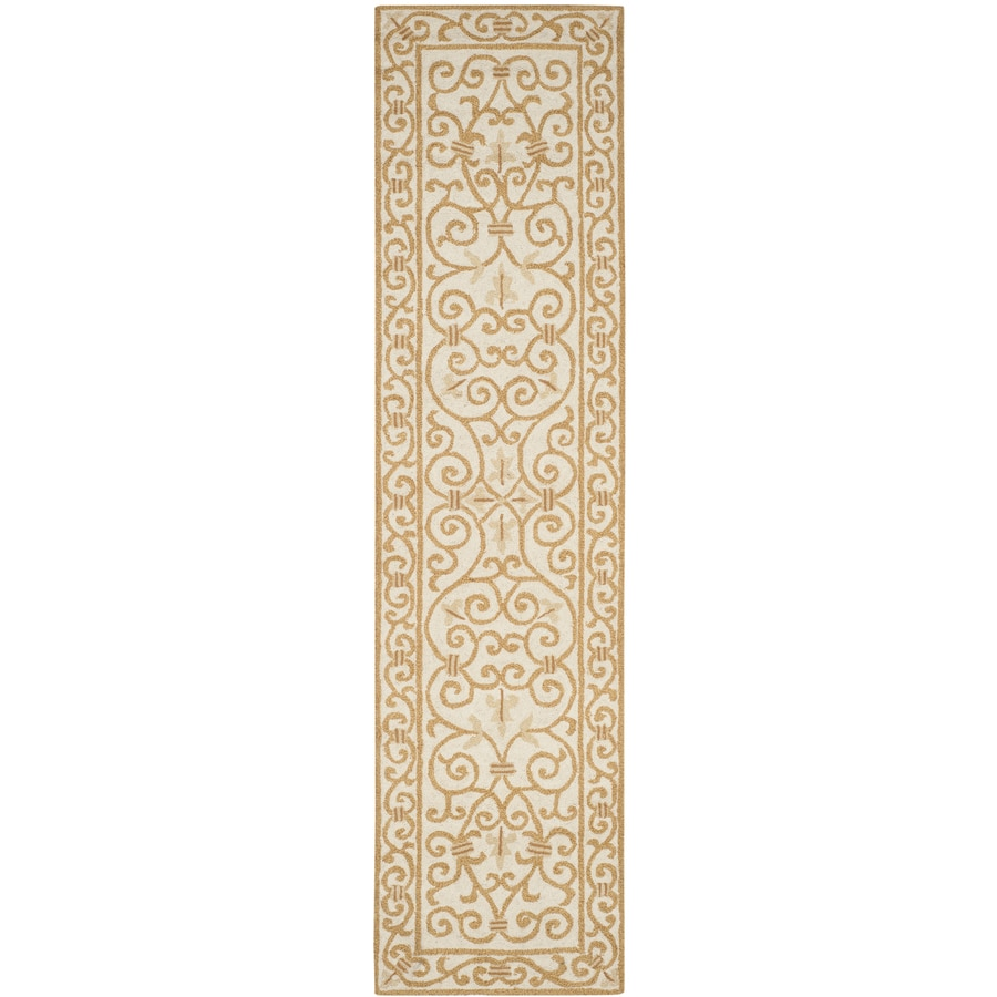 Safavieh Chelsea Iron Gate Ivory/Gold Indoor Handcrafted Lodge Runner (Common: 2 x 10; Actual: 2.5-ft W x 10-ft L)