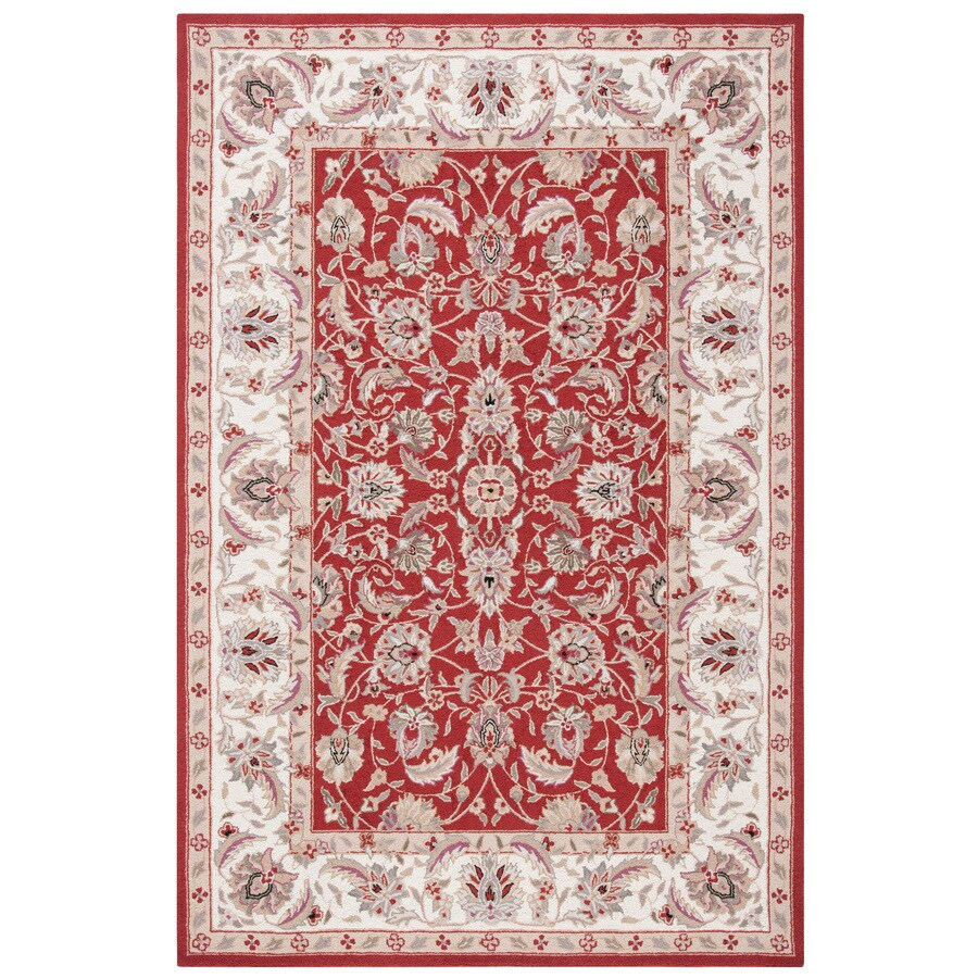 Safavieh Chelsea York Burgundy and Ivory Rectangular Indoor Handcrafted Lodge Throw Rug (Common: 3 x 5; Actual: 3.75-ft W x 5.75-ft L)