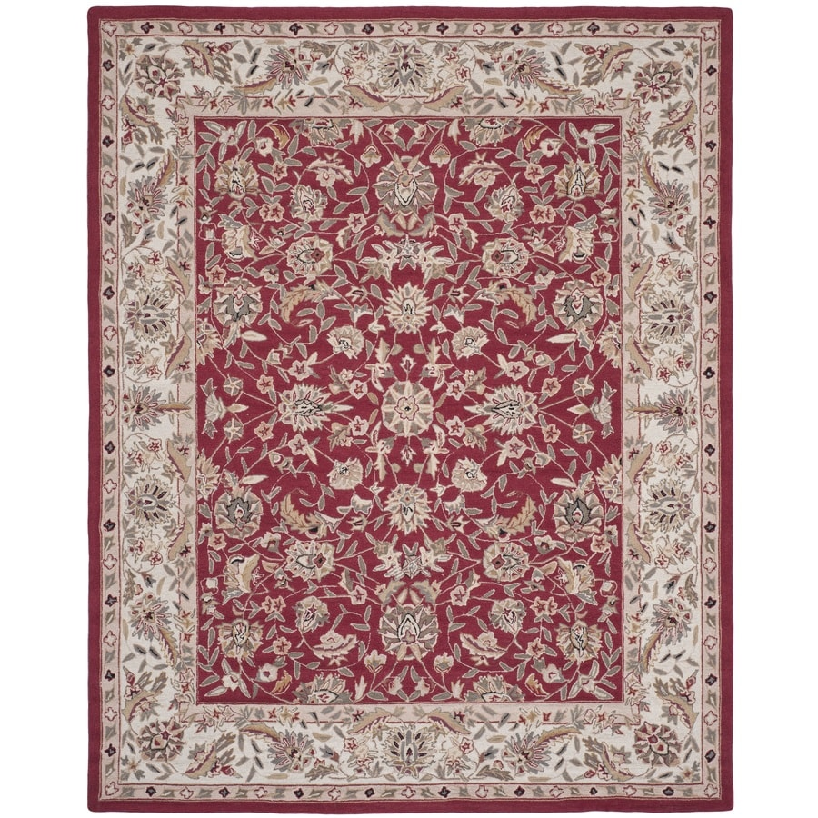 Safavieh Chelsea York Burgundy And Ivory Indoor Handcrafted Lodge Area Rug (Common: 8 x 10; Actual: 7.75-ft W x 9.75-ft L)