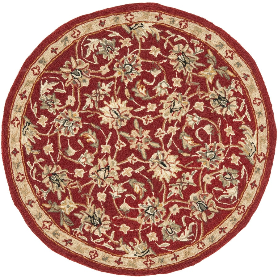 Safavieh Chelsea York Burgundy And Ivory Round Indoor Handcrafted Lodge Throw Rug (Common: 3 x 3; Actual: 3-ft W x 3-ft L x 3-ft dia)