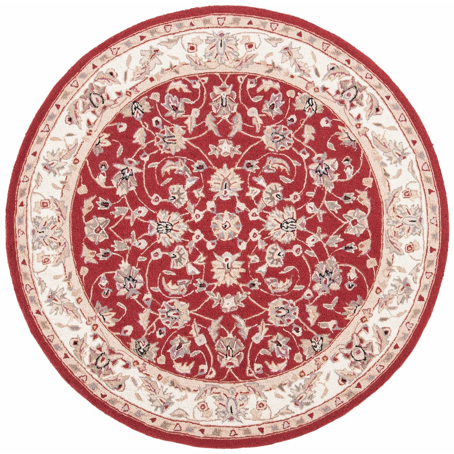 Safavieh Chelsea York Burgundy/Ivory Round Indoor Handcrafted Lodge Area Rug (Common: 8 X 8; Actual: 8-ft W x 8-ft L x 8-ft dia)
