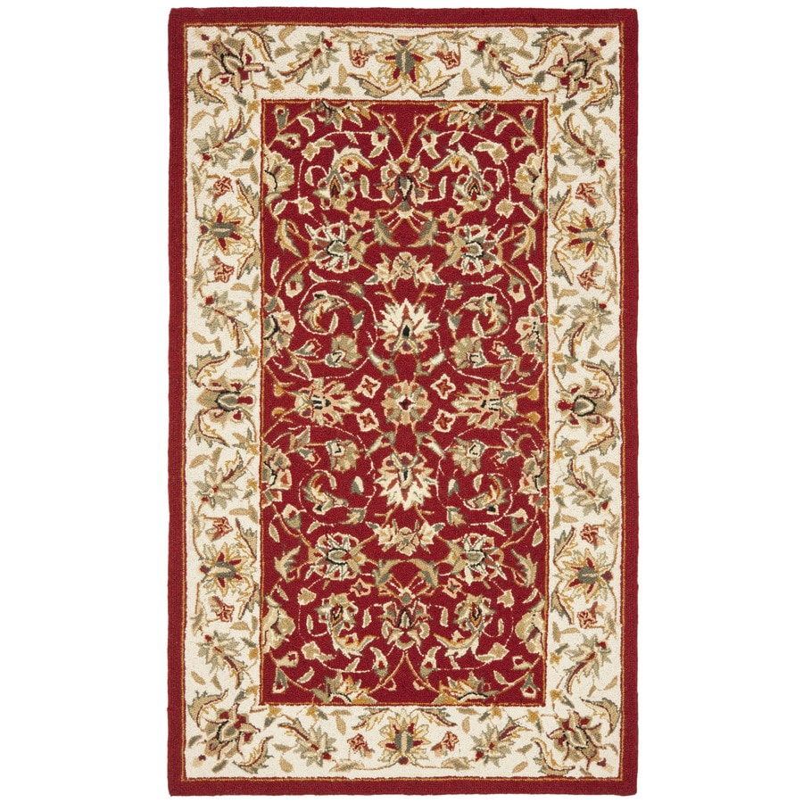 Safavieh Chelsea York Burgundy And Ivory Indoor Handcrafted Lodge Throw Rug (Common: 2 x 4; Actual: 2.5-ft W x 4-ft L)