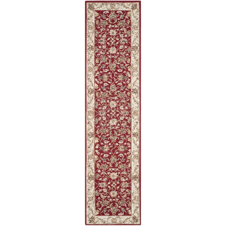 Safavieh Chelsea York Burgundy and Ivory Rectangular Indoor Handcrafted Lodge Runner (Common: 2 x 10; Actual: 2.5-ft W x 10-ft L)