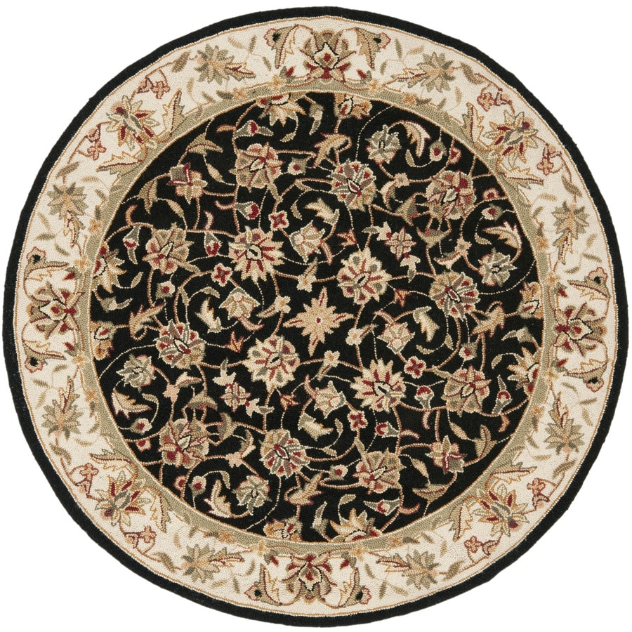Safavieh Chelsea York Black Round Indoor Handcrafted Lodge Area Rug (Common: 4 x 4; Actual: 4-ft W x 4-ft L x 4-ft dia)