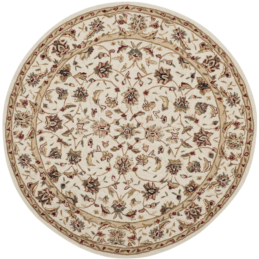 Safavieh Chelsea York Ivory/Ivory Round Indoor Handcrafted Lodge Area Rug (Common: 4 x 4; Actual: 4-ft W x 4-ft L x 4-ft dia)