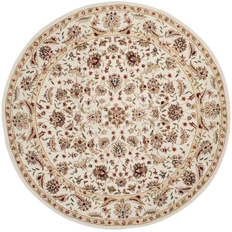 Safavieh Chelsea York Ivory/Ivory Round Indoor Handcrafted Lodge Area Rug (Common: 8 x 8; Actual: 8-ft W x 8-ft L x 8-ft Dia)