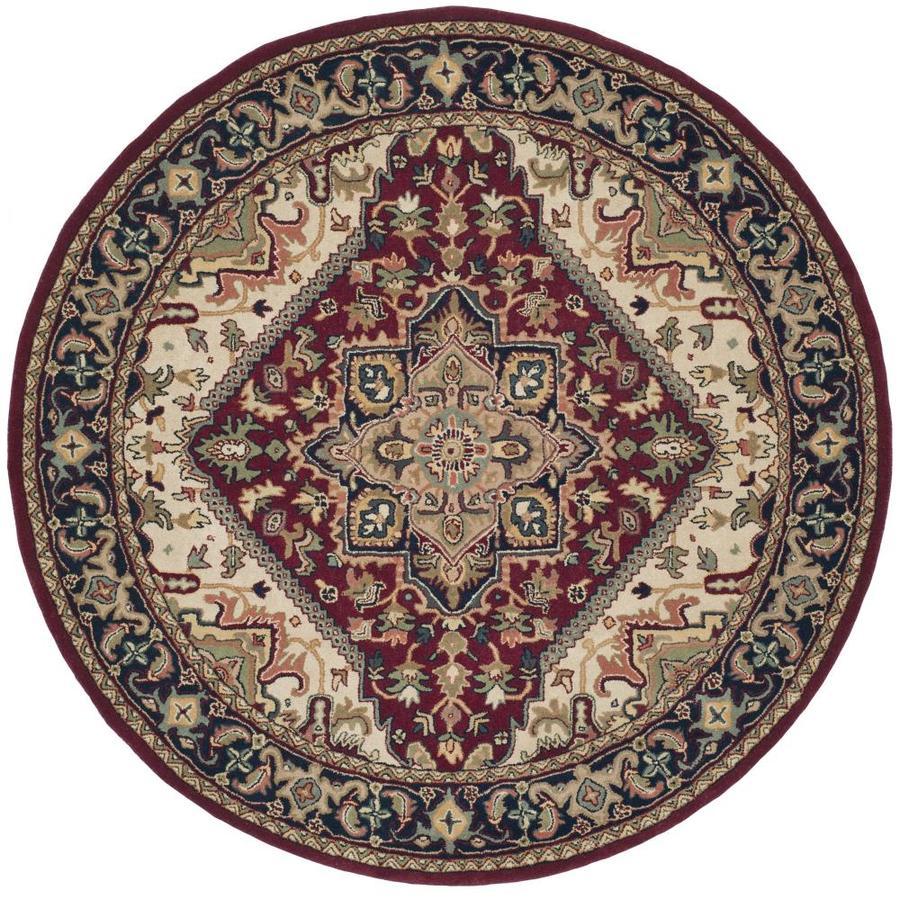 Safavieh Heritage Heriz Red Round Indoor Handcrafted Oriental Area Rug (Common: 8 x 8; Actual: 8-ft W x 8-ft L x 8-ft dia)