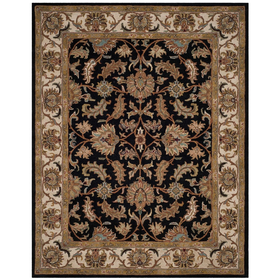 Safavieh Heritage Kashan 8 X 10 Black Beige Indoor Floral Botanical Oriental Handcrafted Area Rug In The Rugs Department At Lowes Com