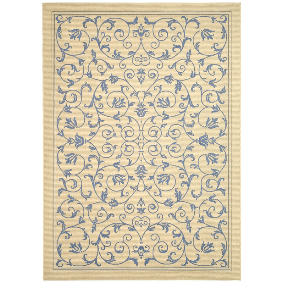 Safavieh Courtyard Natural/Blue Rectangular Indoor/Outdoor Machine-Made Coastal Area Rug (Common: 5 x 8; Actual: 5.25-ft W x 7.58333333333333-ft L x 0-ft Dia)