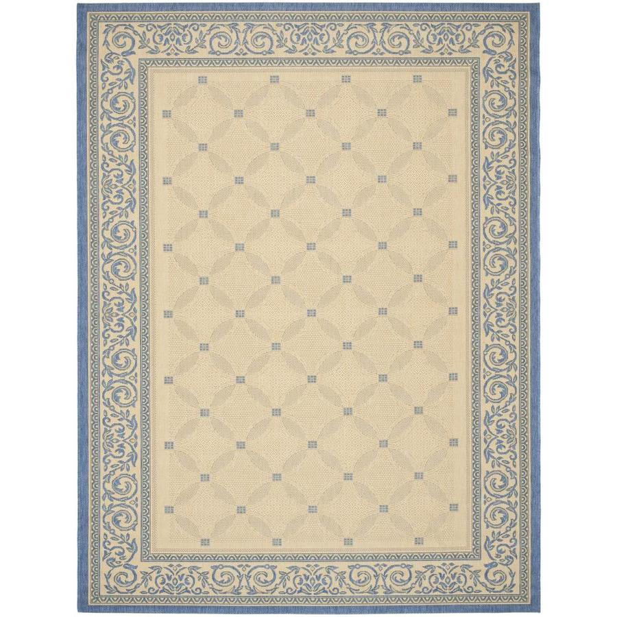 Safavieh Courtyard Lattice Flower Natural/Blue Indoor/Outdoor Coastal Area Rug (Common: 5 x 8; Actual: 5.25-ft W x 7.6-ft L)