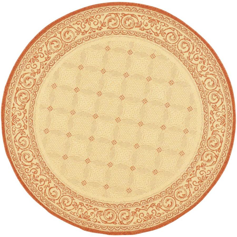 Safavieh Courtyard Lattice Flower Natural/Terra Round Indoor/Outdoor Machine-made Coastal Area Rug (Common: 6 x 6; Actual: 6.58-ft W x 6.58-ft L x 6.5833-ft Dia)