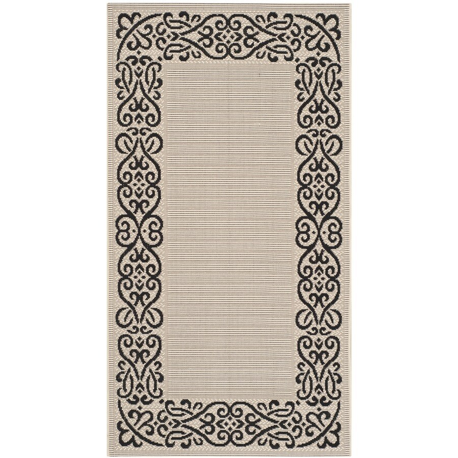 Safavieh Courtyard Sand/Black Rectangular Indoor/Outdoor Machine-Made Coastal Throw Rug (Common: 3 x 5; Actual: 2.58-ft W x 5-ft L x 0-ft Dia)