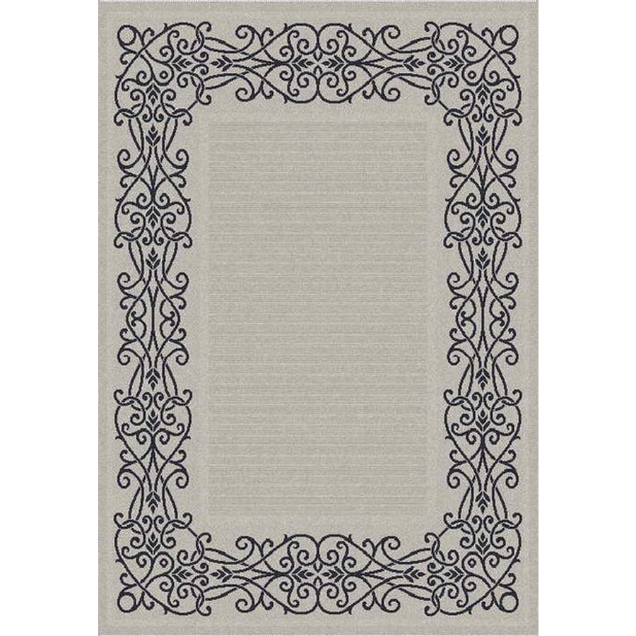 Safavieh Courtyard Sand and Black Rectangular Indoor and Outdoor Machine-Made Area Rug (Common: 5 x 8; Actual: 63-in W x 91-in L x 0.42-ft Dia)