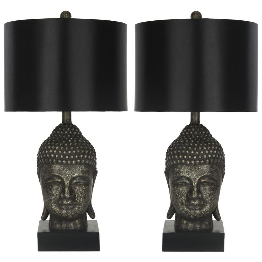 Safavieh Golden 25-in Black/Gray Rotary Socket Table Lamp with Fabric Shade (Set of 2)
