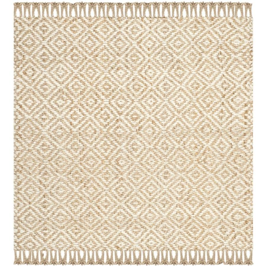 Safavieh Natural Fiber Islip Natural/Ivory Square Indoor Handcrafted Coastal Area Rug (Common: 8 x 8; Actual: 8-ft W x 8-ft L)