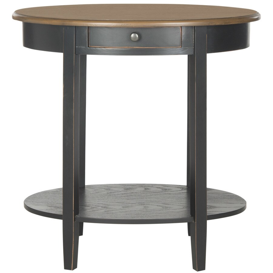 Safavieh American Home Black Oak Pine Oval End Table