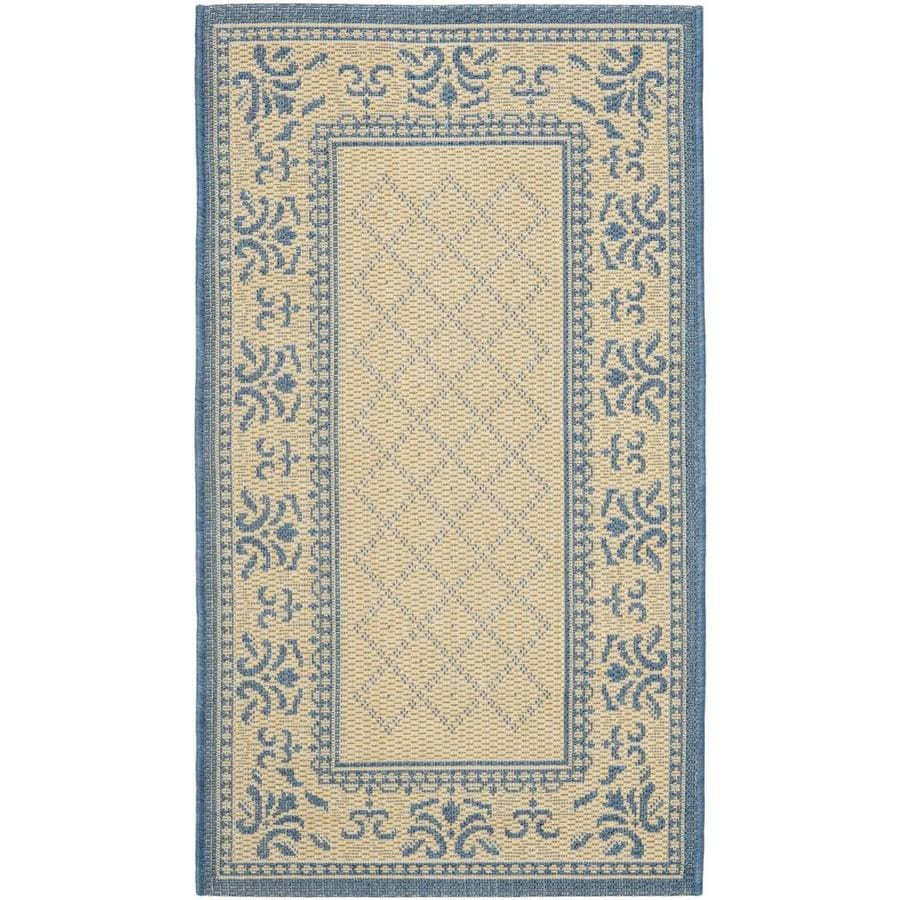 Safavieh Courtyard Trellis Vine Natural/Blue Rectangular Indoor/Outdoor Machine-made Coastal Throw Rug (Common: 2 x 5; Actual: 2.58-ft W x 5-ft L)
