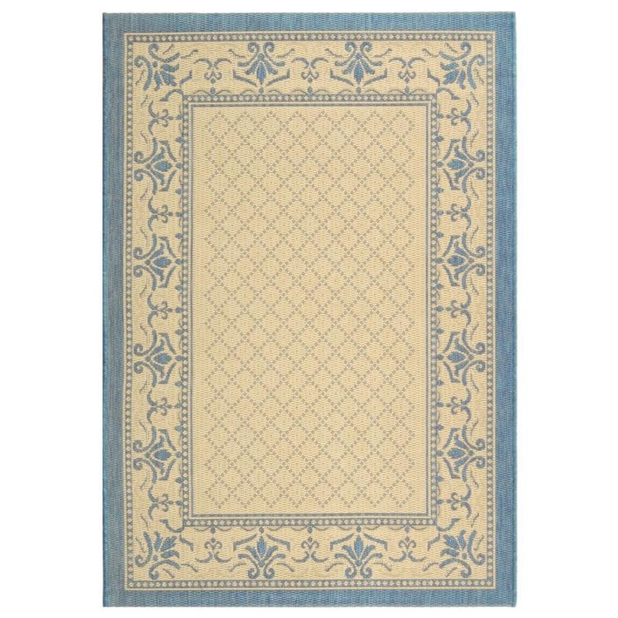 Safavieh Courtyard Natural and Blue Rectangular Indoor and Outdoor Machine-Made Area Rug (Common: 4 x 6; Actual: 48-in W x 67-in L x 0.33-ft Dia)