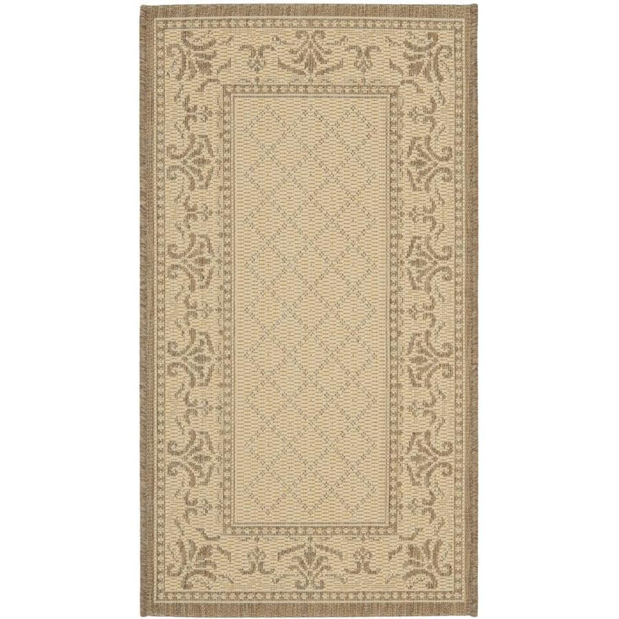 Safavieh Courtyard Trellis Vine Natural/Brown Rectangular Indoor/Outdoor Machine-made Coastal Throw Rug (Common: 2 x 5; Actual: 2.58-ft W x 5-ft L)
