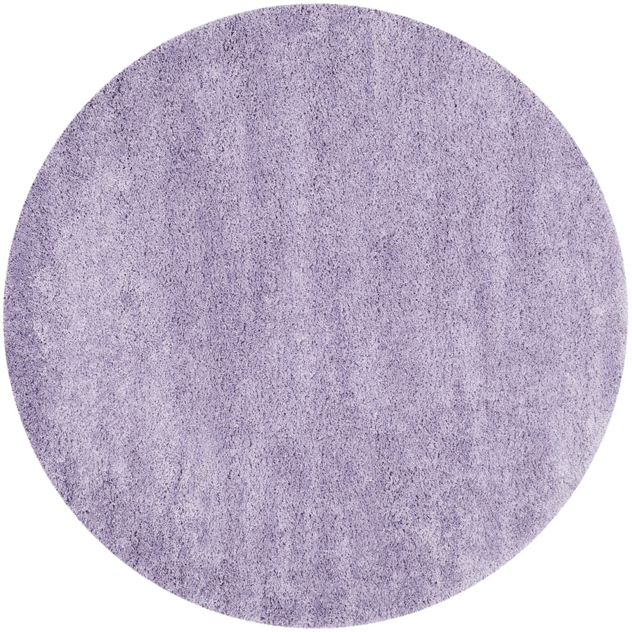 Safavieh California Shag Lilac Round Indoor Machine-made Area Rug (Common: 6 x 6; Actual: 6.583-ft W x 6.583-ft L x 6.583-ft Dia)