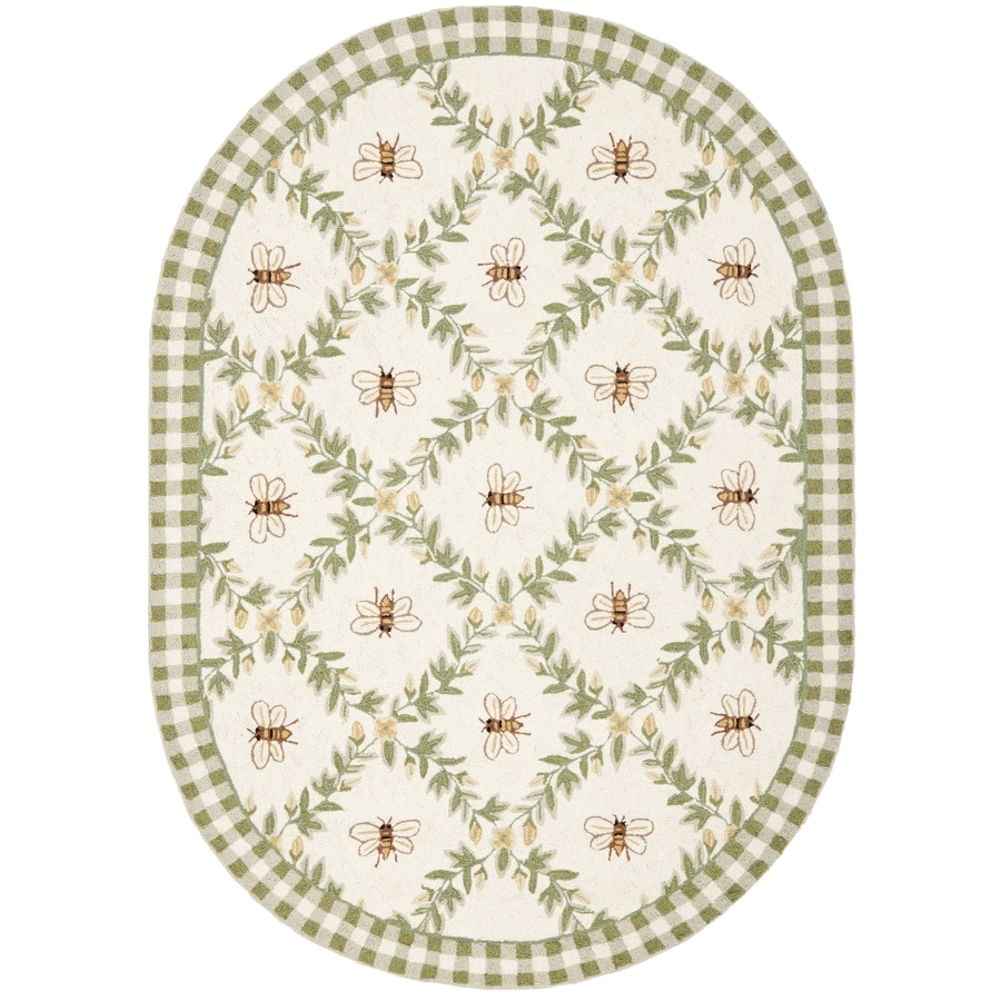 Safavieh Chelsea Stratford Ivory/Green Oval Indoor Handcrafted Lodge Area Rug (Common: 7 x 9; Actual: 7.5-ft W x 9.5-ft L)