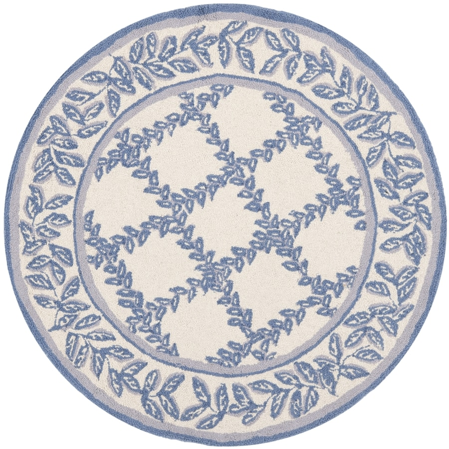 Safavieh Chelsea Lattice Ivory and Light Blue Round Indoor Handcrafted Lodge Area Rug (Common: 4 x 4; Actual: 4-ft W x 4-ft L x 4-ft Dia)