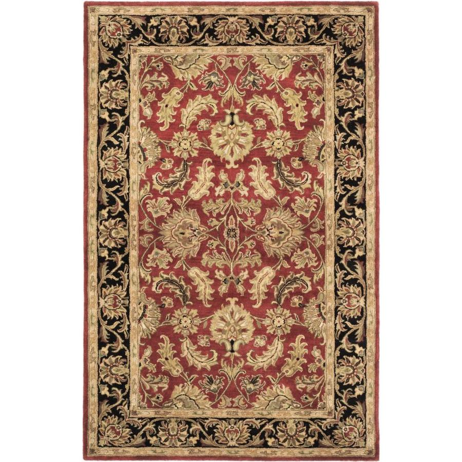 Safavieh Heritage Kashan Red/Black Indoor Handcrafted Oriental Area Rug (Common: 6 x 9; Actual: 6-ft W x 9-ft L)