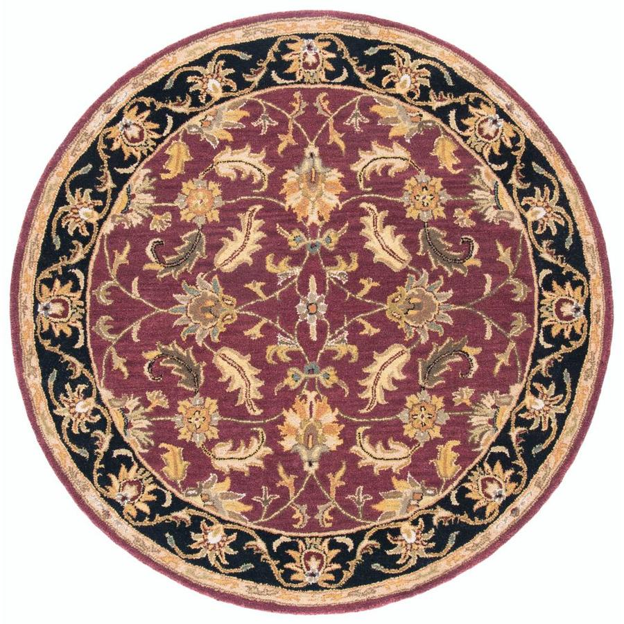 Safavieh Heritage Red/Black Round Indoor Handcrafted Oriental Area Rug (Common: 6 x 6; Actual: 6-ft W x 6-ft L x 6-ft Dia)