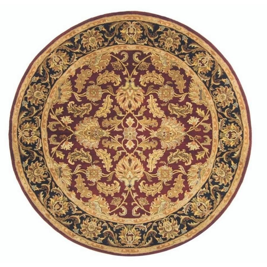 Safavieh Heritage Kashan Red/Black Round Indoor Handcrafted Oriental Area Rug (Common: 8 x 8; Actual: 8-ft W x 8-ft L x 8-ft dia)