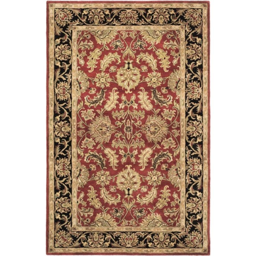 Safavieh Heritage Kashan Red/Black Rectangular Indoor Handcrafted Oriental Throw Rug (Common: 3 x 5; Actual: 3-ft W x 5-ft L)