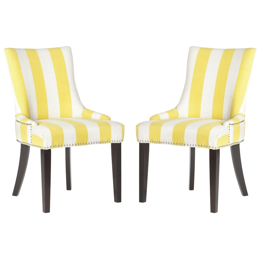 Safavieh Set of 2 Mercer Yellow/White Stripe Side Chairs