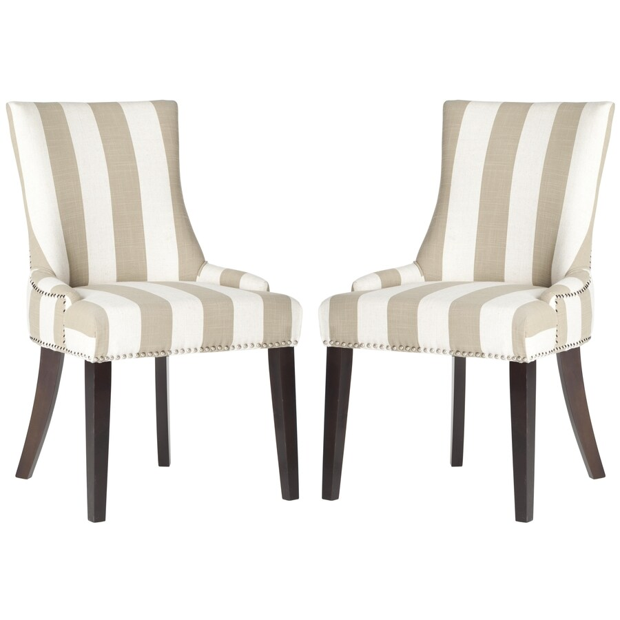 Safavieh Set of 2 Mercer Taupe/White Stripe Side Chairs